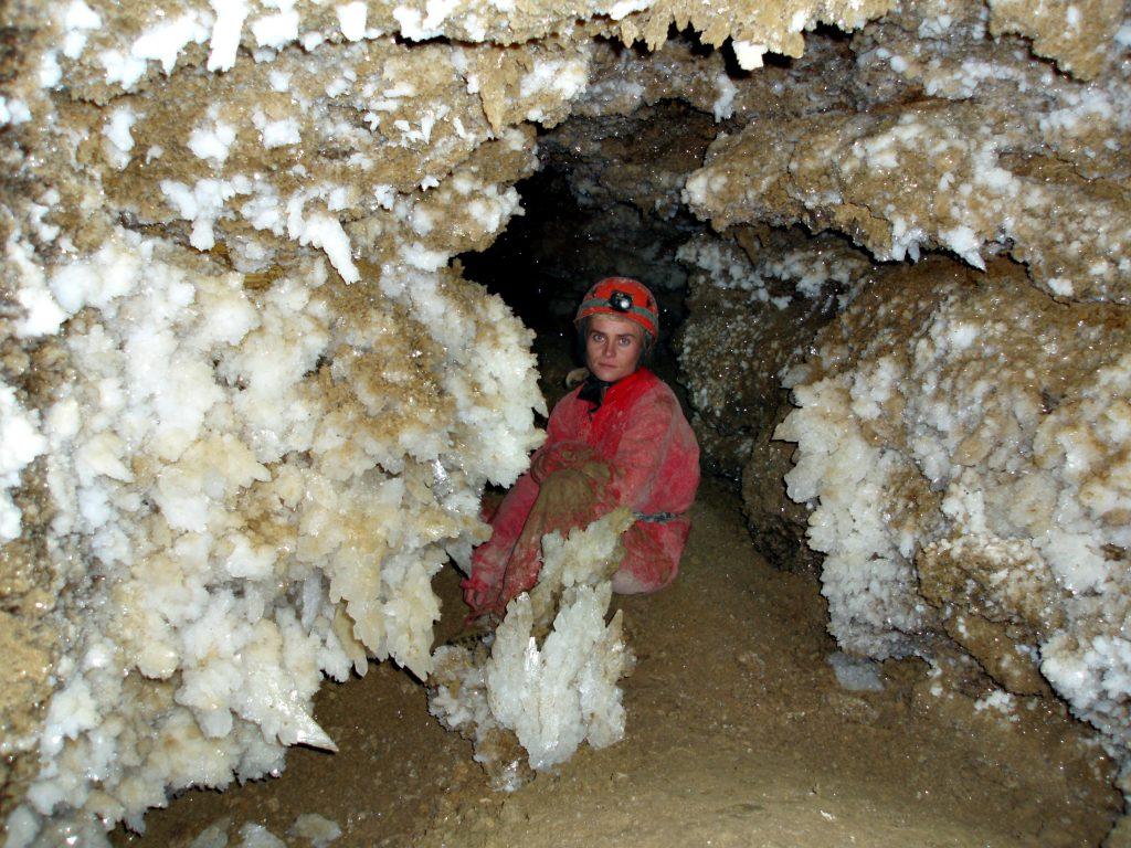 Кристалы в пещере Оптимистическая.